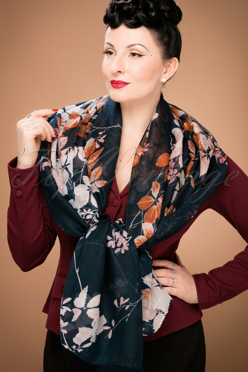 Vintage Scarf Styles -1920s to 1960s 60s It Is All About Flowers Scarf in Midnight Blue £11.47 AT vintagedancer.com