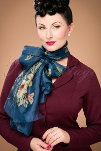 Flowers and Leaves Around Me Scarf Années 60 en Bleu Marine