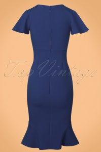 Vintage Chic Super Crepe Blue Pencil Dress 100 30 23697 20171123 0002w