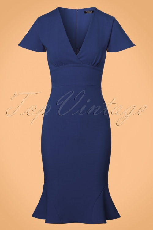 Vintage Chic Super Crepe Blue Pencil Dress 100 30 23697 20171123 0001w