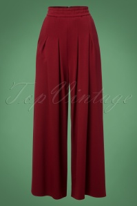 Banned Retro 70s Indiana Trousers in Burgundy