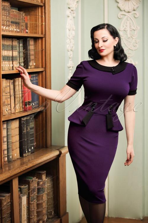 Vintage Chic Capsleeve Purple Pencil Dress 100 60 19614 20161013 0011cw