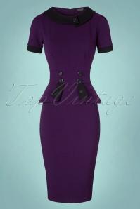 Vintage Chic Capsleeve Purple Pencil Dress 100 60 19614 20161013 0003w