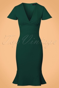 Vintage Chic Super Crepe Forest Green Pencil Dress 100 40 23698 20171123 0001W