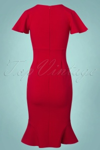 Vintage Chic Super Crepe Red Pencil Dress 100 20 23696 20171123 0007w