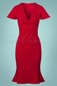 Vintage Chic Super Crepe Red Pencil Dress 100 20 23696 20171123 0001w