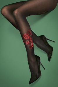 50s Oui Roses Tights in Black