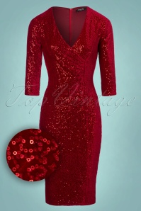 Vintage Chic Red Velvet Sequins Pencil Dress 100 20 23918 20171124 0005W1