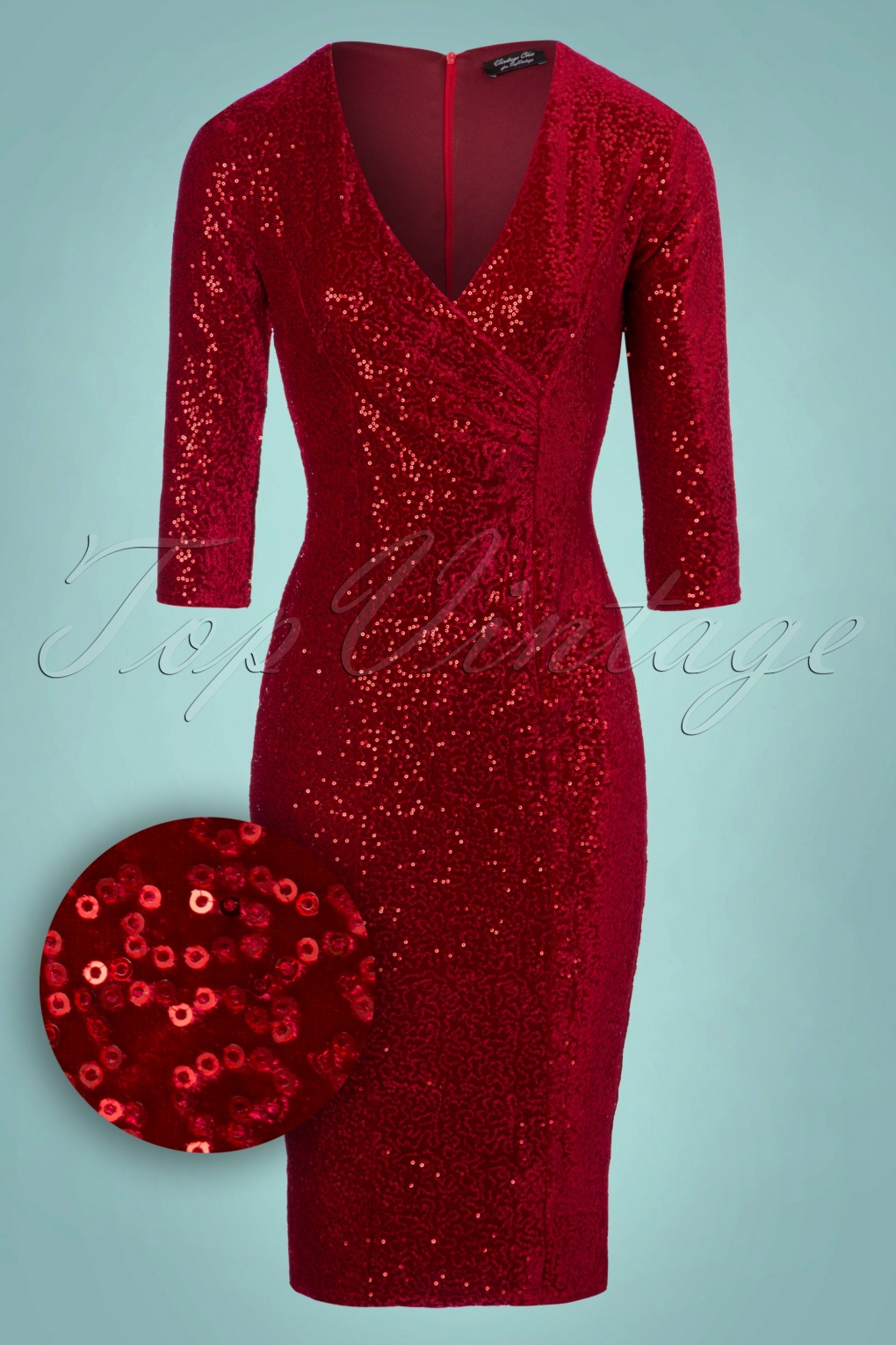 Valentines Day Dresses, Outfits, Lingerie | Red Dresses 50s Marci Sequin  Pencil Dress In