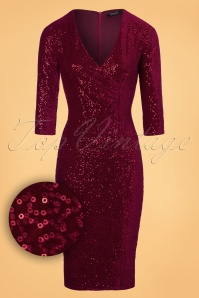 Vintage Chic Red Velvet Sequins Pencil Dress 100 20 23917 20171124 0005W1