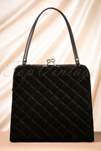50s Quilted Velvet Handbag in Black