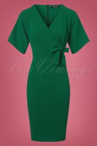 Vintage Chic Scuba Crepe Emerald Green Cross Bust Pencil Dress  100 40 22749 20171123 0002w