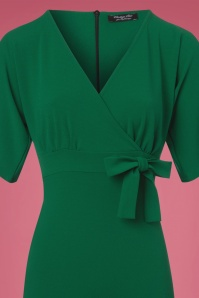 Vintage Chic Scuba Crepe Emerald Green Cross Bust Pencil Dress  100 40 22749 20171123 0002c