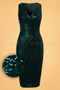 Vintage Chic Velvet Sequin Pencil Dress in Green 100 40 23389 20171127 0002W1