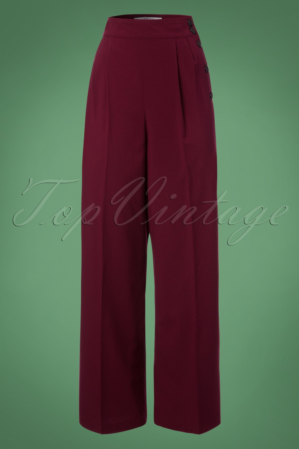 Vintage Wide Leg Pants 1920s to 1950s History 40s Hubertine Trousers in Burgundy £38.11 AT vintagedancer.com