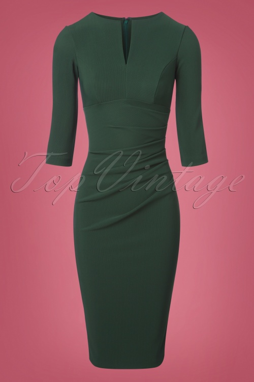 the latest various styles various design 50s Lydia Pencil Dress in Deep Green