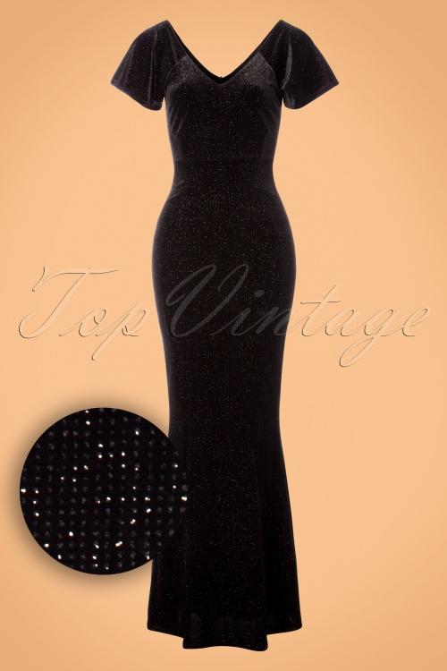 50s Sue Velvet Glitter Maxi Dress in Black