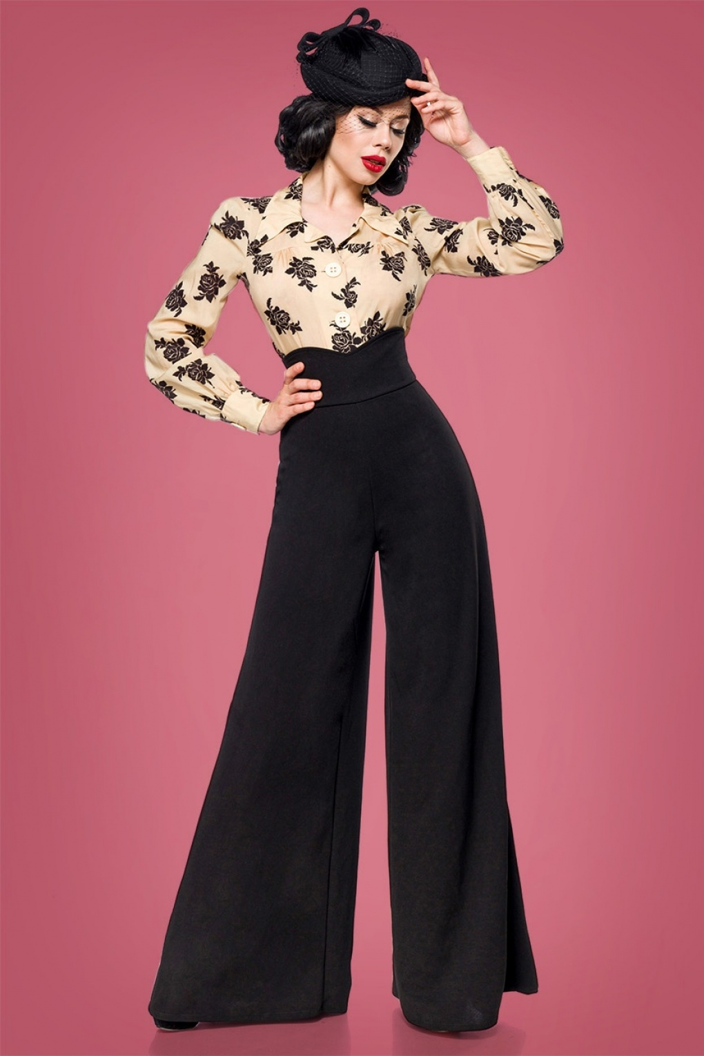 Vintage High Waisted Trousers, Sailor Pants, Jeans 40s Marlene Trousers in Black £42.79 AT vintagedancer.com