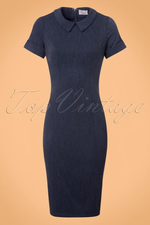 50s Toni Fitted Dress in Denim Blue