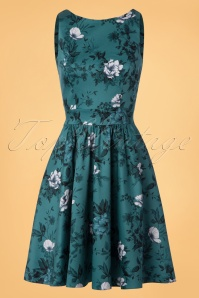 Lady V Tea Roses Swing Dress in Teal 102 39 24152 20171128 0011W
