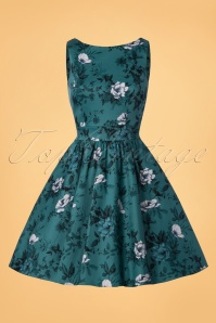 Lady V Tea Roses Swing Dress in Teal 102 39 24152 20171128 0001W