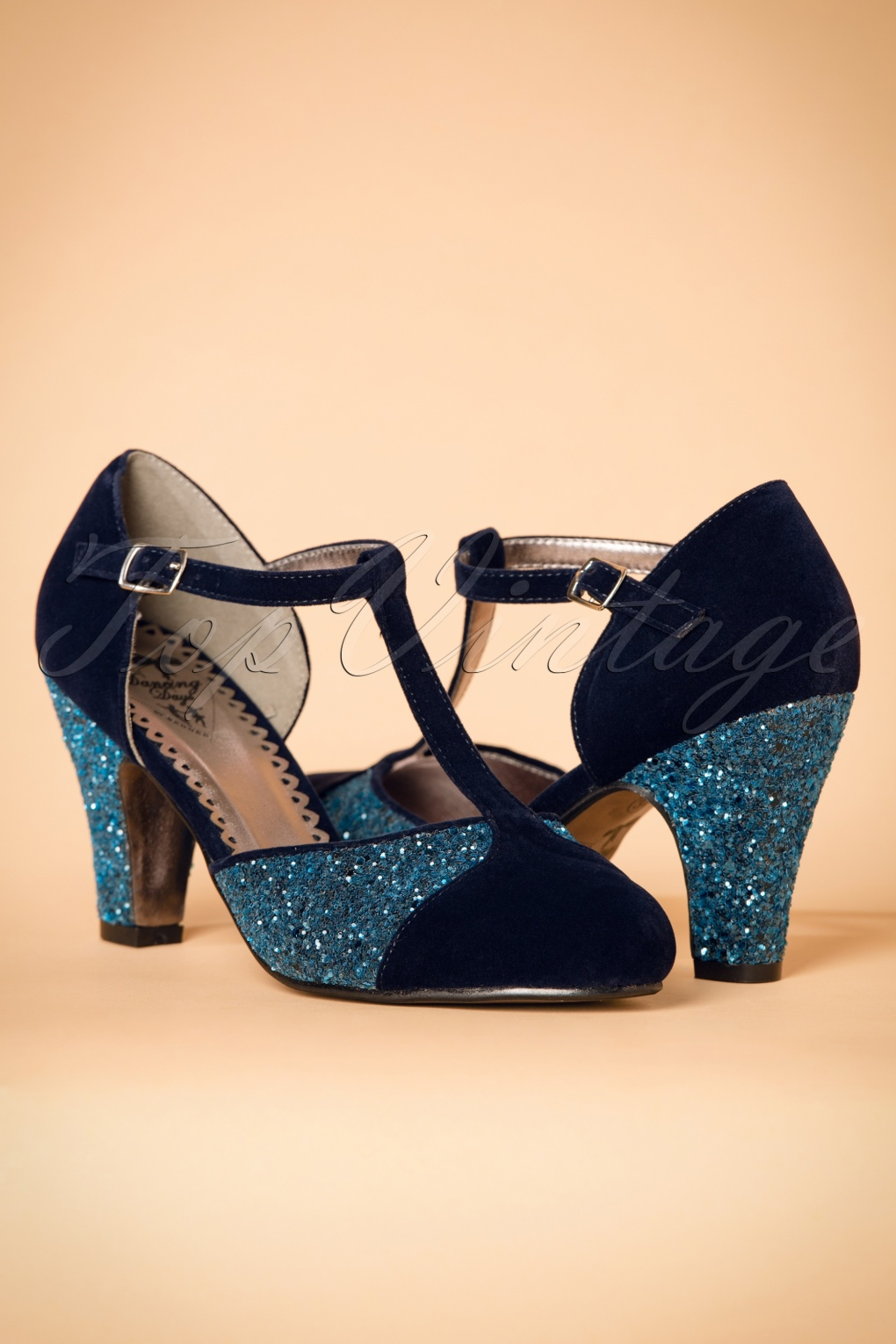 1920s Style Shoes 20s Sparkles On My T-Strap Pumps in Blue £43.89 AT vintagedancer.com
