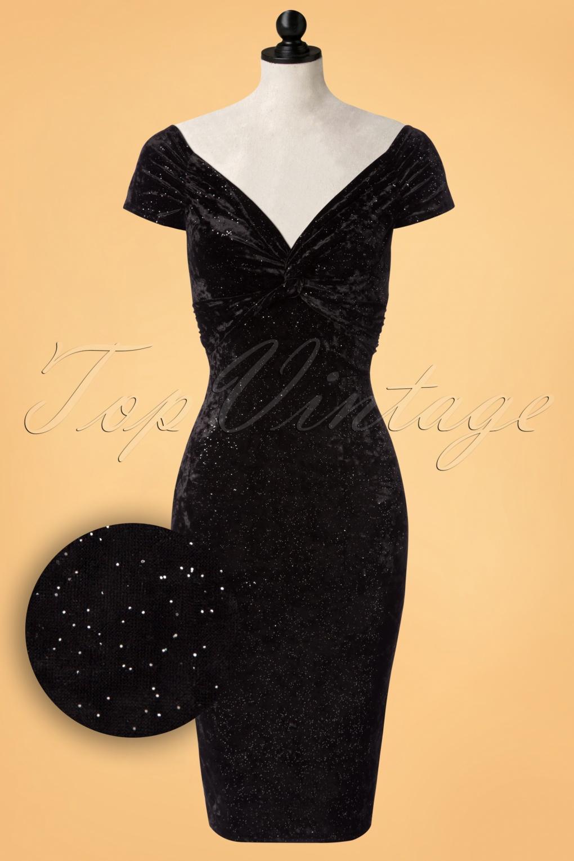 50s Glenda Glitter Velvet Pencil Dress in Black