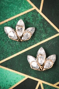 50s Crystal Evening Stud Earrings in Gold