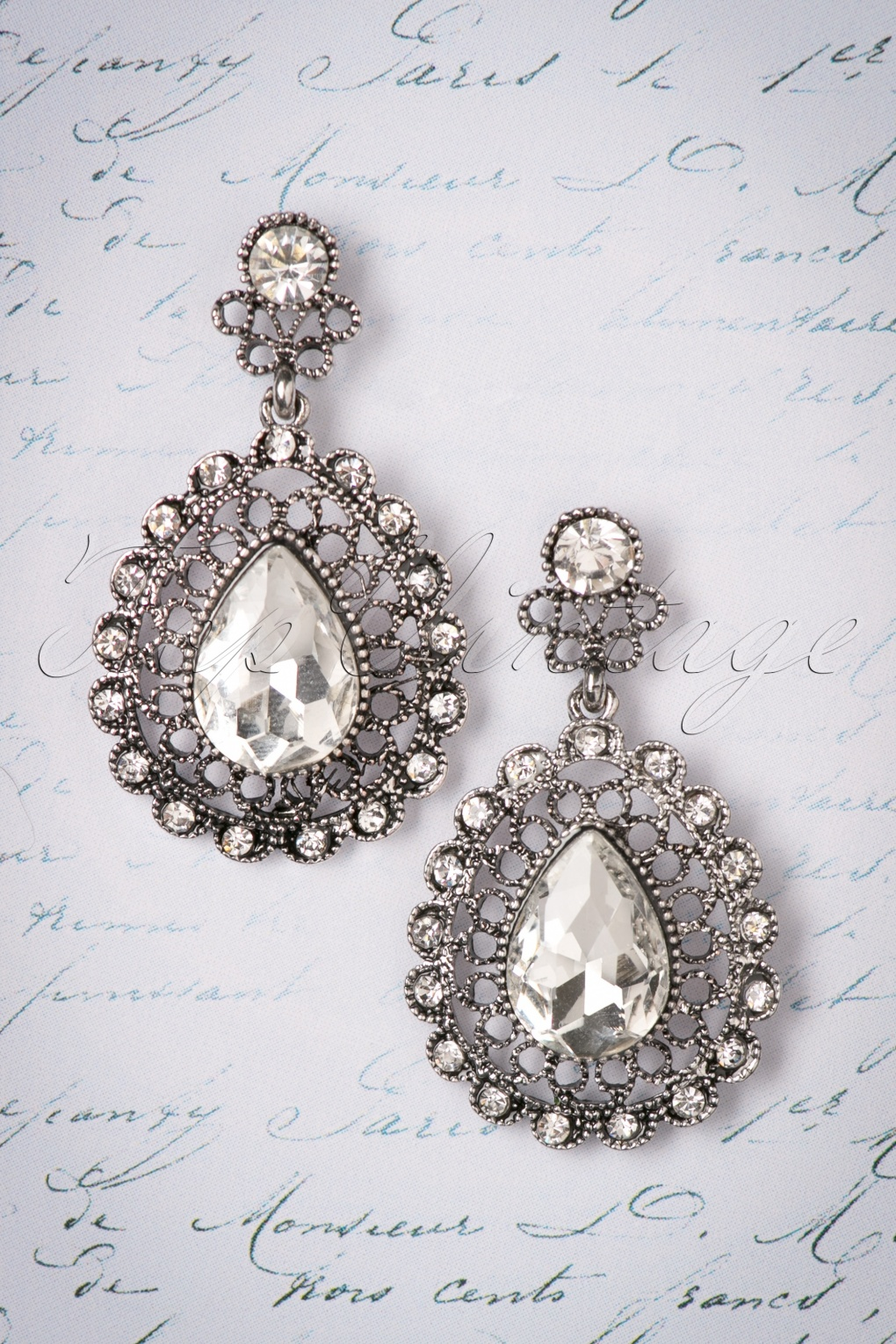 1930s Jewelry | Art Deco Style Jewelry 30s Viola Vintage Stud Earrings in Silver £13.46 AT vintagedancer.com