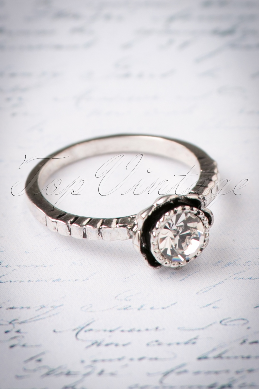1930s Jewelry   Art Deco Style Jewelry 30s Veronica Vintage Diamond Ring in Silver £11.43 AT vintagedancer.com