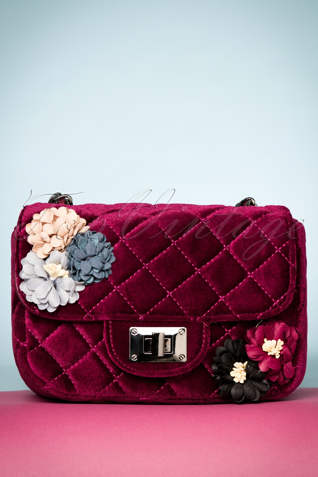 Vintage & Retro Handbags, Purses, Wallets, Bags 60s Quilted Floral Velvet Handbag in Burgundy £18.62 AT vintagedancer.com
