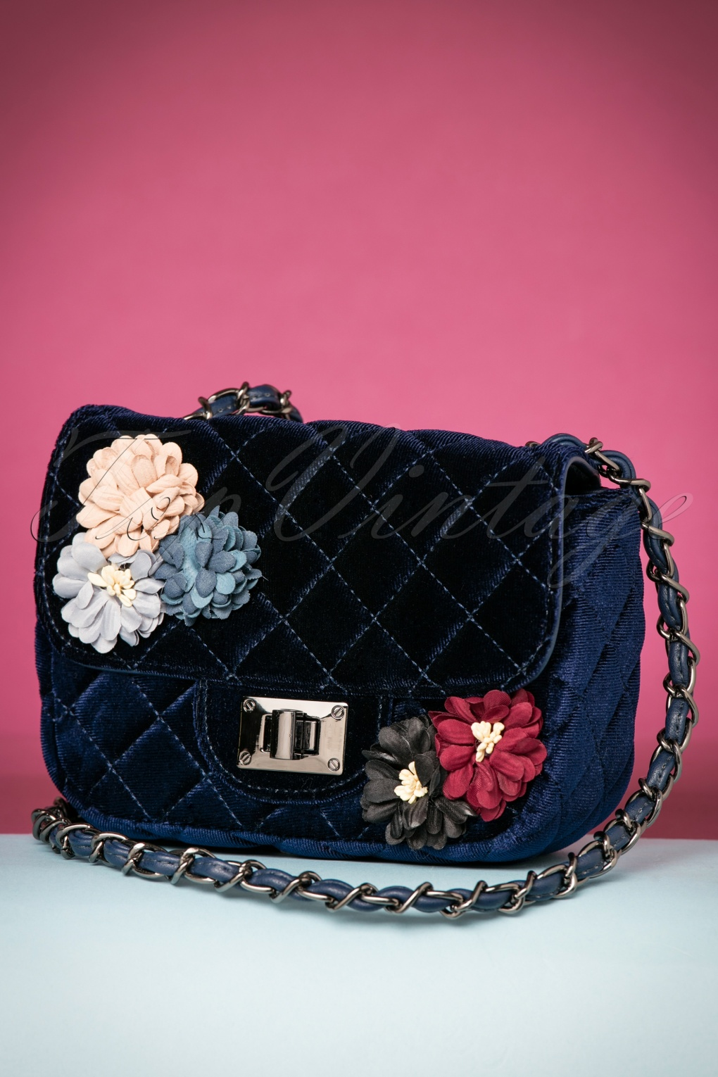 Vintage & Retro Handbags, Purses, Wallets, Bags 60s Quilted Floral Velvet Handbag in Royal Blue £18.62 AT vintagedancer.com