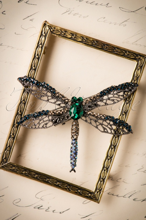 Foxy Aqua Dragonfly Brooch 340 39 24214 30112017 005W