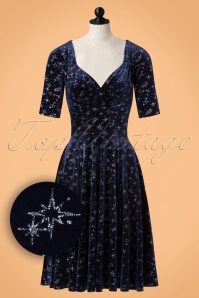 Collectif Clothing Trixie Velvet Sparkle Doll Dress in Navy 21842 20170614 0014popW1
