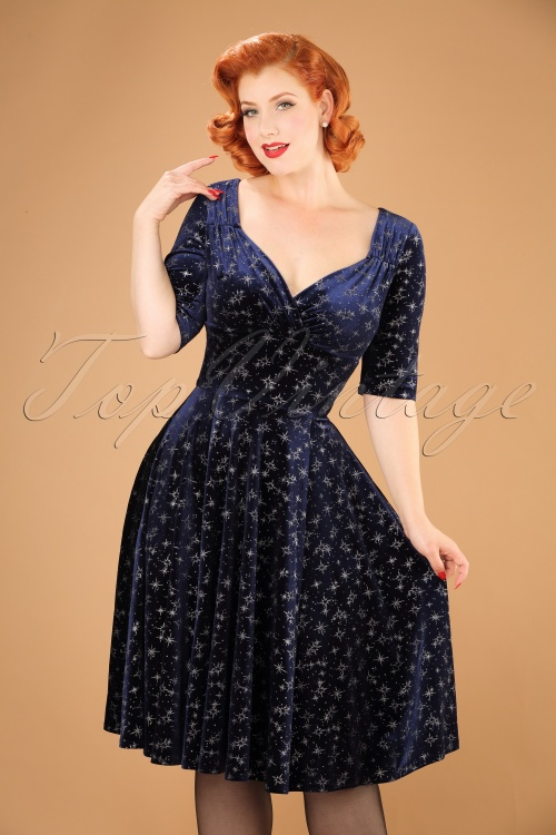 Collectif Clothing Trixie Velvet Sparkle Doll Dress in Navy 21842 20170614 1W