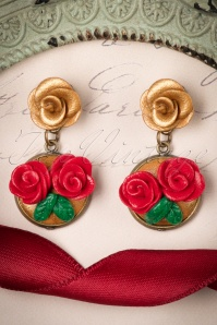 Sweet Cherry Handmade Red Roses Earrings 333 27 24201 20171201 0006w3