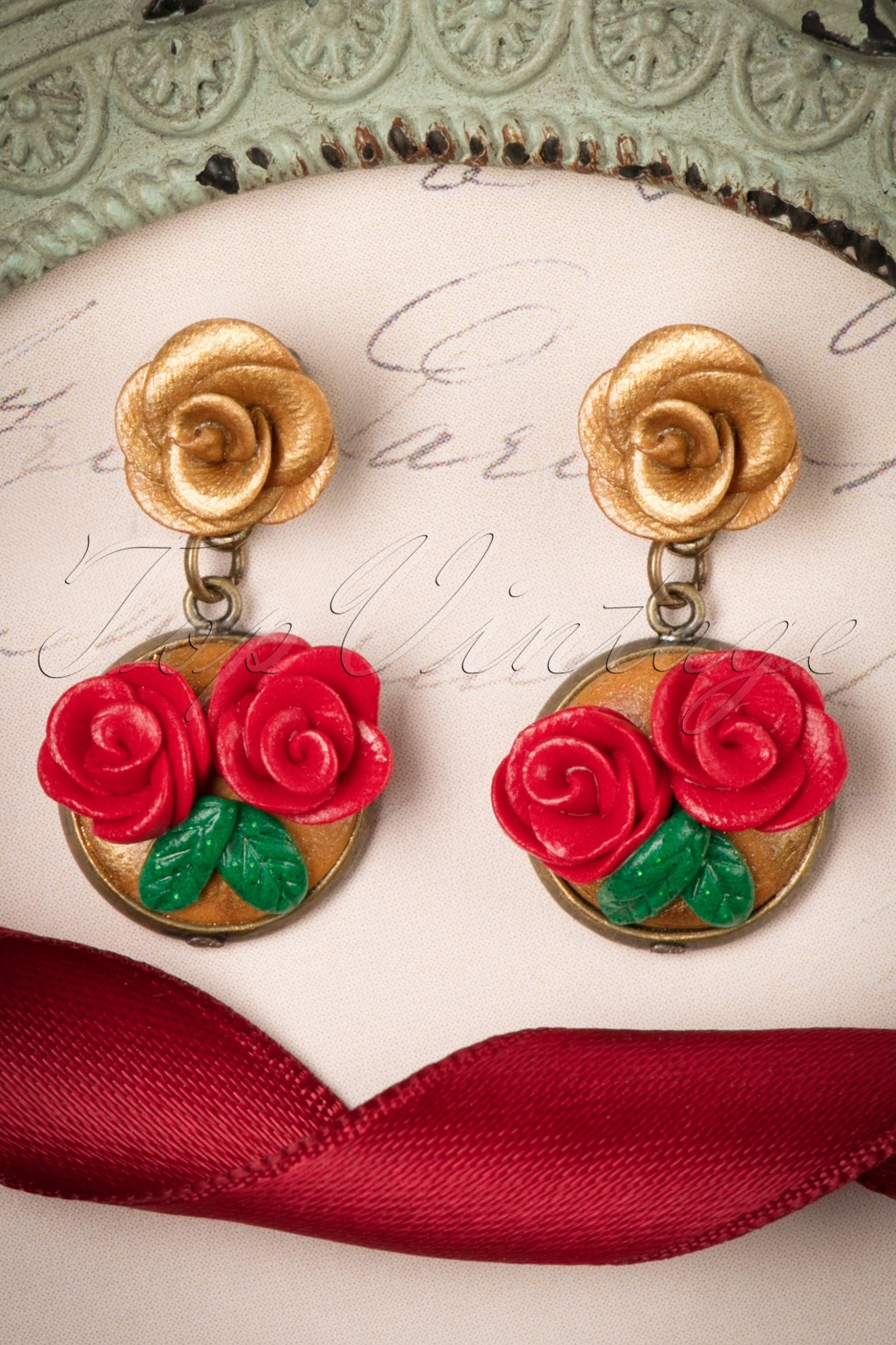1940s Costume Jewelry: Necklaces, Earrings, Brooch, Bracelets 40s Romantic Roses Earrings in Gold and Red £13.06 AT vintagedancer.com