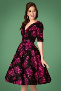 Unique Vintage Black Roses Swing Dress 102 14 23398 20171201 01