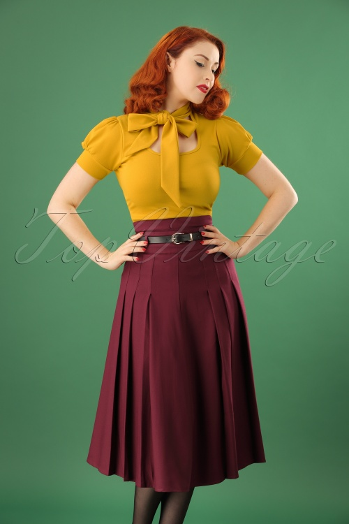 Collectif Clothing Elsa Flared Wine Red Skirt 122 20 18912 20161019 01W