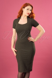 50s Sil Glitter Pencil Dress in Gold