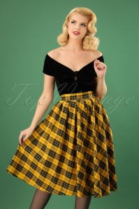 Retrolicious Madison Yellow Black Checked Swing Skirt 122 89 19500 20161114 001W