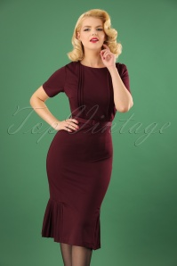 Collectif Clothing Camille Pencil Dress in Wine 22115 20170614 1W