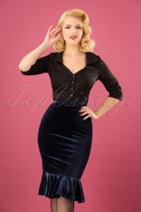50s Leona Velvet Peplum Pencil Skirt in Midnight Blue