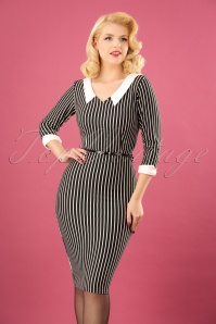 Vintage Chic Black Striped Pencil Dress 100 14 22490 20171120 01W