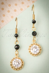 20s Gold Plated Agate and Crystal Drop Earrings