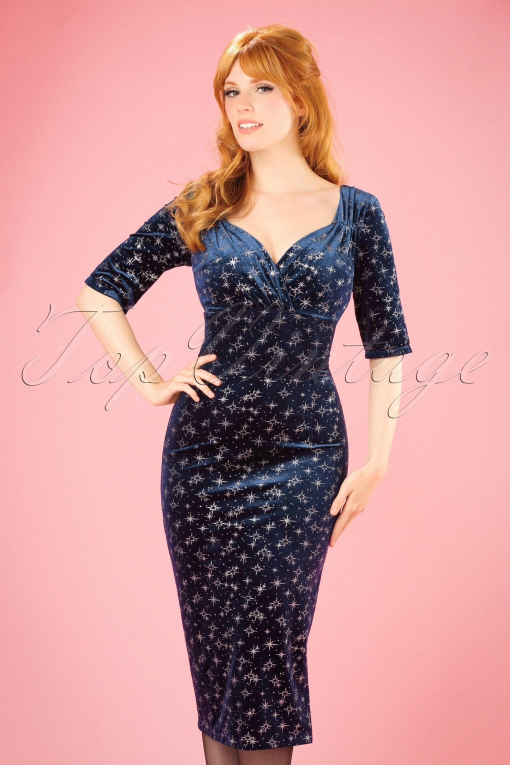 1950s Dresses, 50s Dresses | 1950s Style Dresses 50s Trixie Velvet Sparkle Pencil Dress in Navy £49.53 AT vintagedancer.com