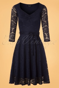 50s Myra Lace Tea Dress in Navy