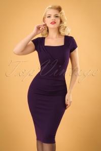 Vintage Chic Barbara Pleat Detail Dress in Aubergine 100 60 19602 20160908 1w