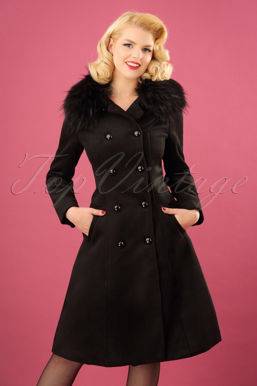 Vintage Coats & Jackets | Retro Coats and Jackets 50s Chrissette Coat in Black £92.02 AT vintagedancer.com