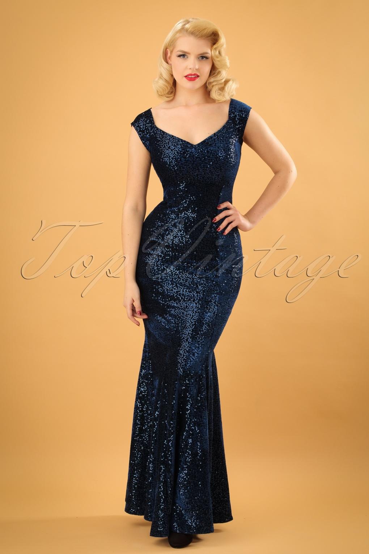 1950s Dress Styles: 8 Popular Vintage Looks 50s Veronica Velvet Sequin Maxi Dress in Navy £110.36 AT vintagedancer.com